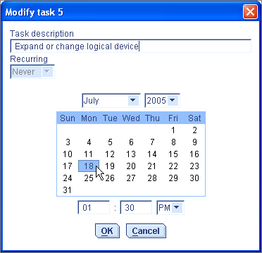 Chapter 9: Managing Tasks 102 Modifying a Task If your requirements change, you can reschedule a task to a different date or time.