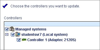 Chapter 11: Managing Controllers and Disk Drives 113 6 Select the controllers you want to update, then click Next. 7 Review the update summary, then click Apply.