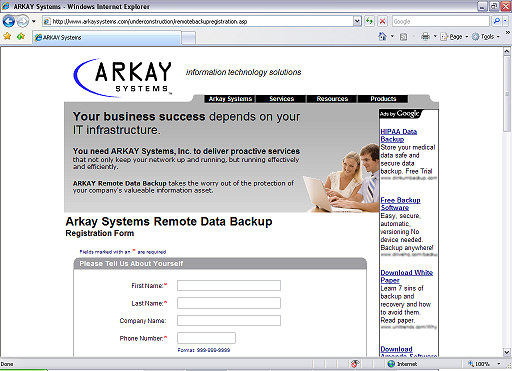 Quick Start Guide It's easy to get started with Arkay Remote Data Backup and Recovery Service. To start using Arkay Remote Data Backup right now, just follow these simple steps: 1.
