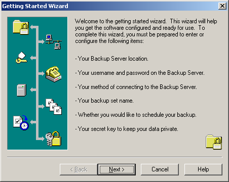 4. Getting Started Wizard Once installation of Arkay Remote Data Backup is complete, Arkay Remote Data Backup will automatically start and launch the Getting Started Wizard in order to guide you