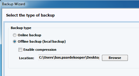 Now the backup task is fully configured. When clicking on the Finish button the task will appear in the Online Backup Client. You can also click the Advanced button to specify more options.