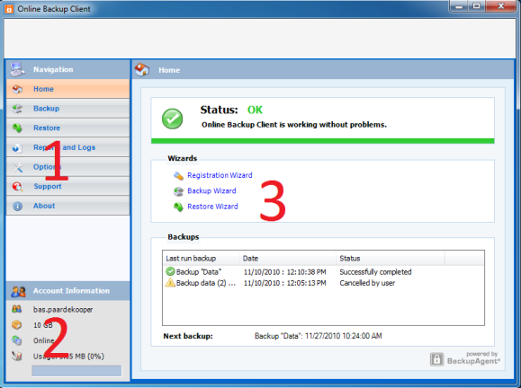 6. The client interface The main interface of the Online Backup Client, shown in the figu