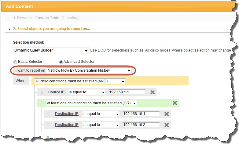 Defining the Object to Report On selector. For more details, see the SolarWinds technical reference Orion Web-Based Reports. Basic Selector allows you to create simple conditions.