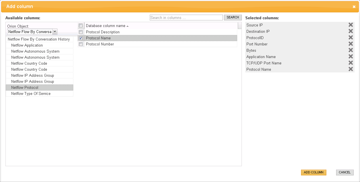 Defining Column Details for a Report b. Select Protocol Name in the Database column name area. The Add column screen with all required columns looks like this: 5.