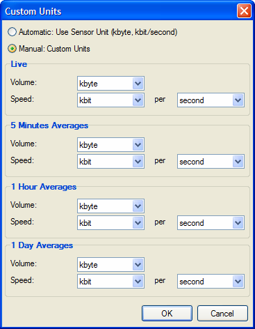 This dialog allows to select the units to be used for the volume and the speed of each