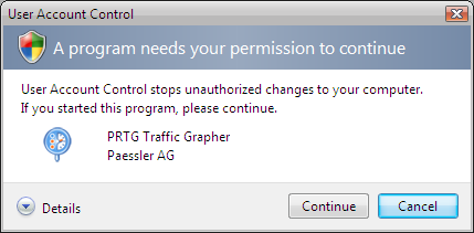 Starting the Setup Routine To install the application please insert your PRTG Traffic Grapher CD-ROM into your computer or open the installation setup routine from the ZIP file that you have