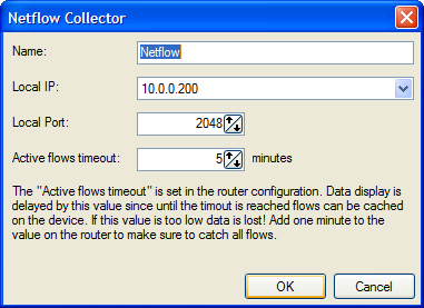 Here one can define the name of the collector, the local IP address, the local port, and the active flows timeout value.