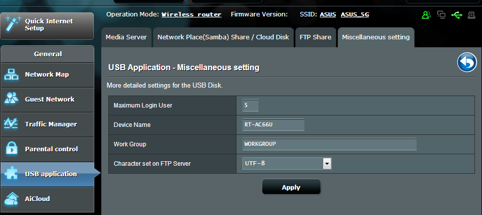 Miscellaneous setting Miscellaneous setting allows you to configure other settings for the USB disk, including the maximum number of user logins, the device name, work group, and character set used