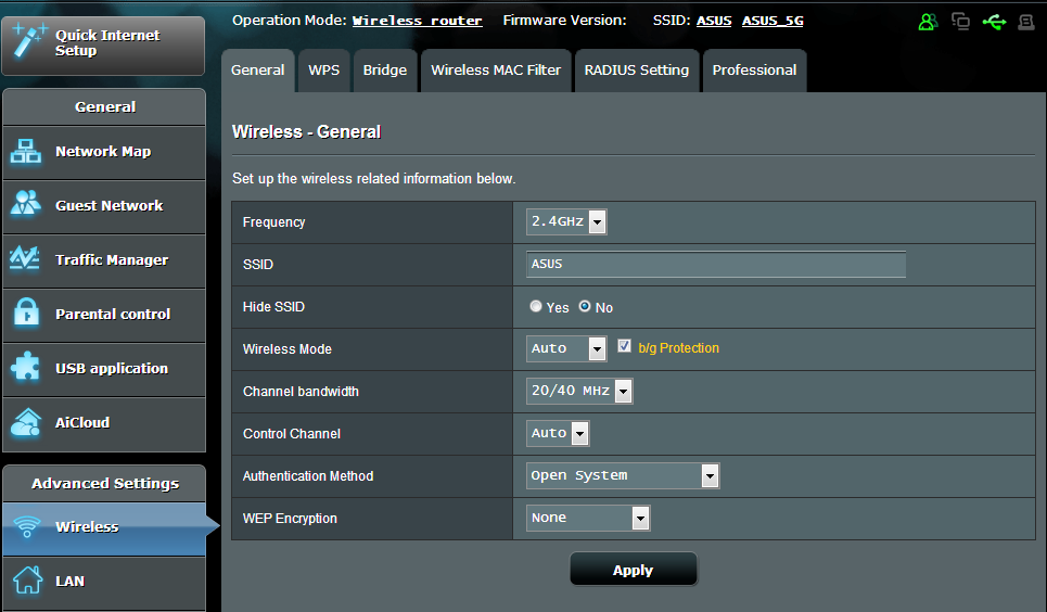 4 Configuring the Advanced Settings 4.1 Wireless 4.1.1 General The General tab allows you to configure the basic wireless settings. To configure the basic wireless settings: 1.