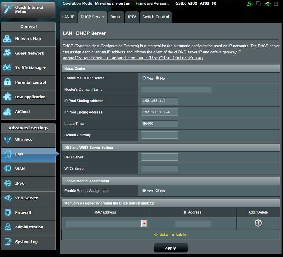 To modify the LAN IP settings: 1. From the navigation panel, go to Advanced Settings > LAN > LAN IP tab. 2.