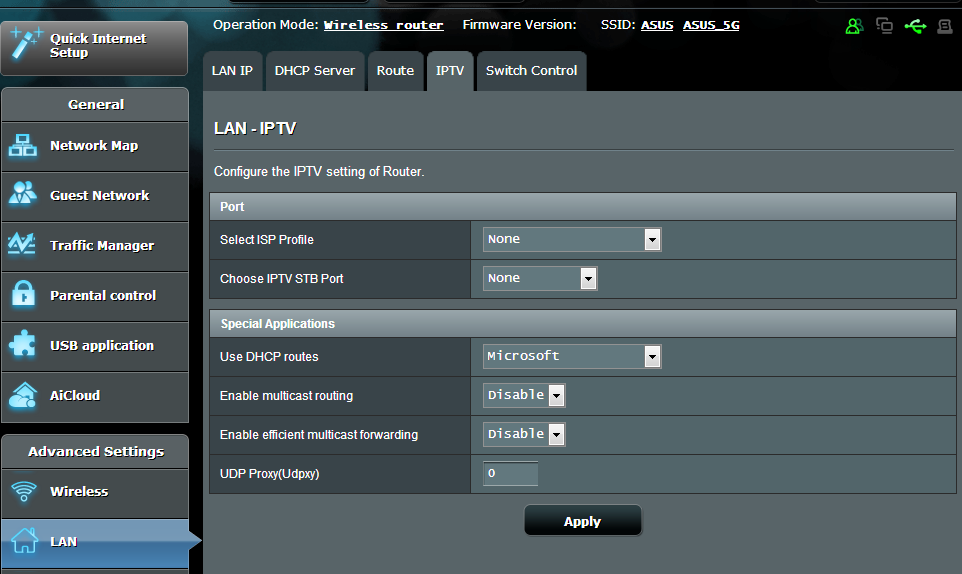 4.2.4 IPTV The wireless router supports connection to IPTV services through an ISP or a LAN.