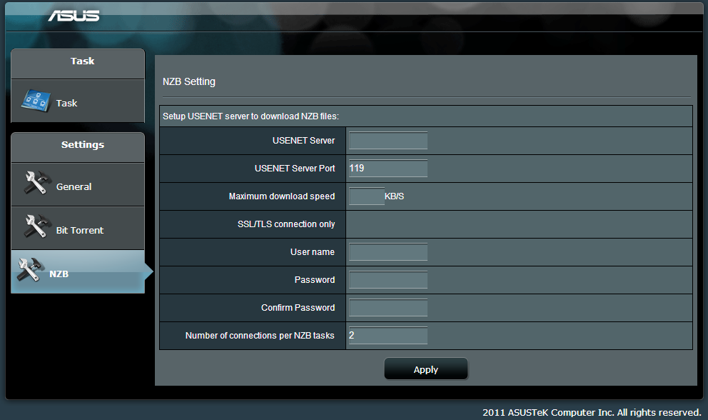 5.4.2 NZB settings You can set up a USENET server to
