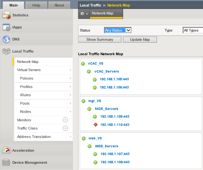 Validate the vrealize Automation High Availability Environment Navigate to Local Traffic > Network Map. View the vrealize Automation environment build-out.