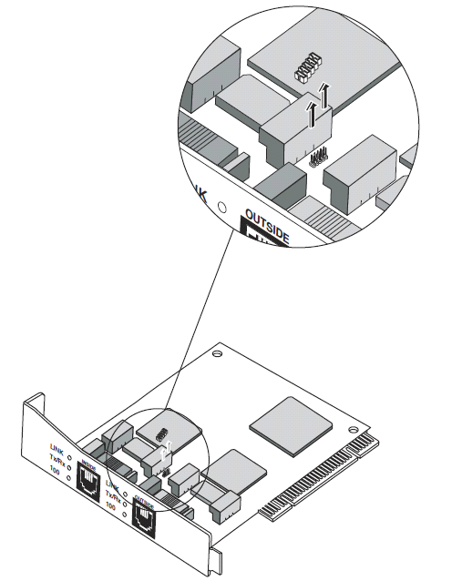 3. Remove nine jumpers from the motherboard. These jumpers are located just behind the inside RJ-45 connector, between two relays, as shown in Figure 1 3.