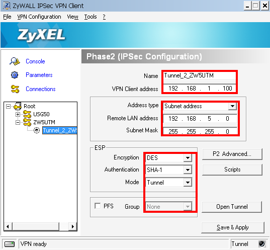 Step 7. Start the ZyXEL IPSec VPN Client. Fill in the Phase-1 configuration.