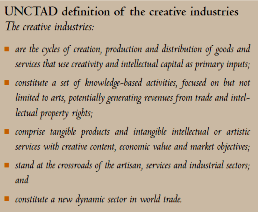 Fig. 1: UNCTAD Definition of Creative Industries Fig.