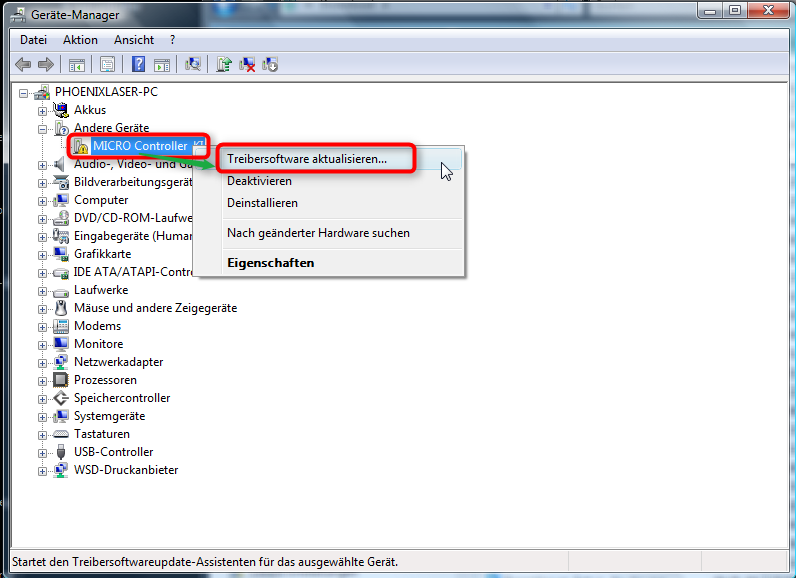 Because of that some additional steps are necessary to install the interface driver. Open the device manager of windows.