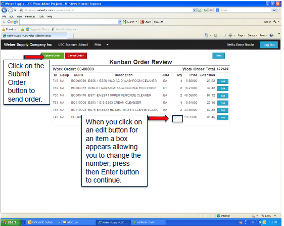 Then the user has the opportunity to review the order details and make corrections if needed.