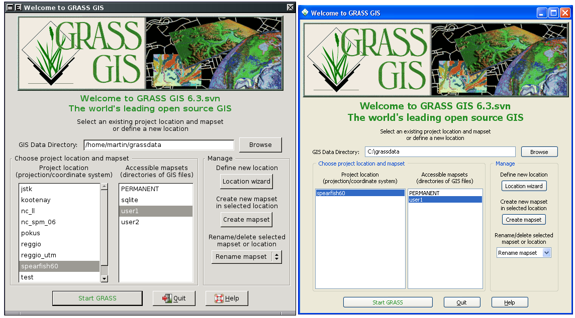 Fig. 2. Welcome screen (GNU/Linux and MS-Windows XP).