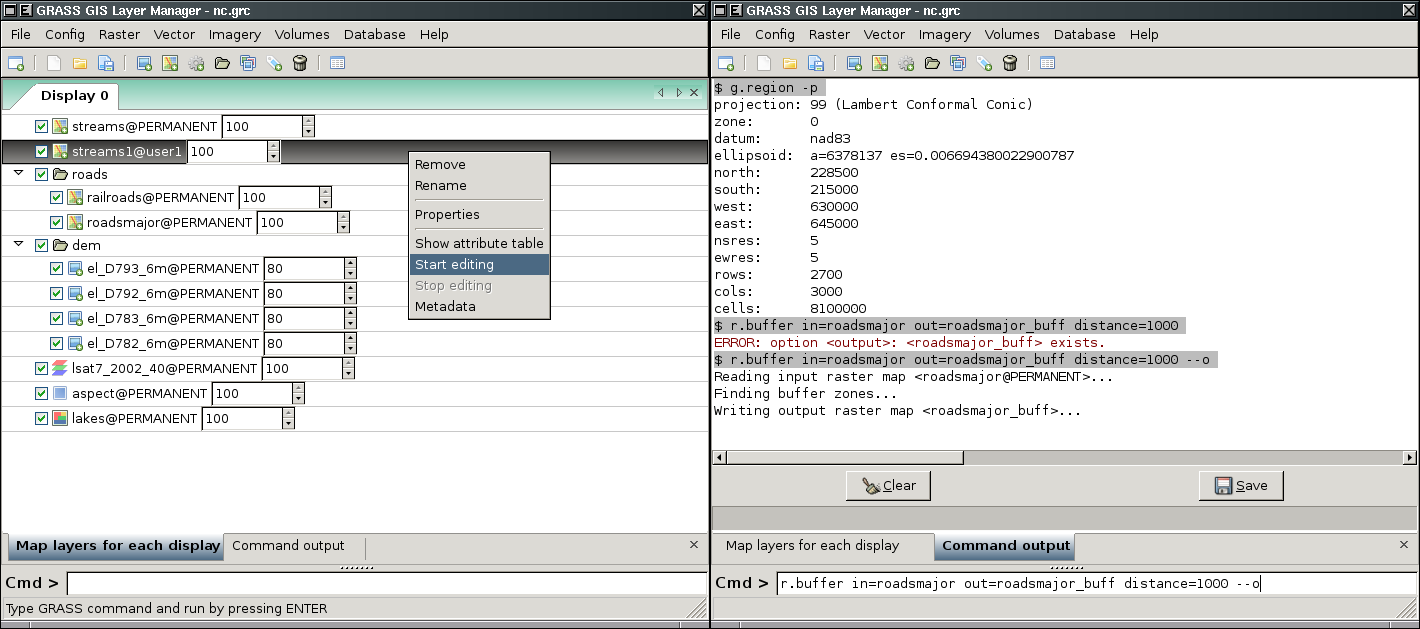 Detailed information are available on the GRASS-Wiki [5]. The core components of wxgui are: Layer Manager (fig.