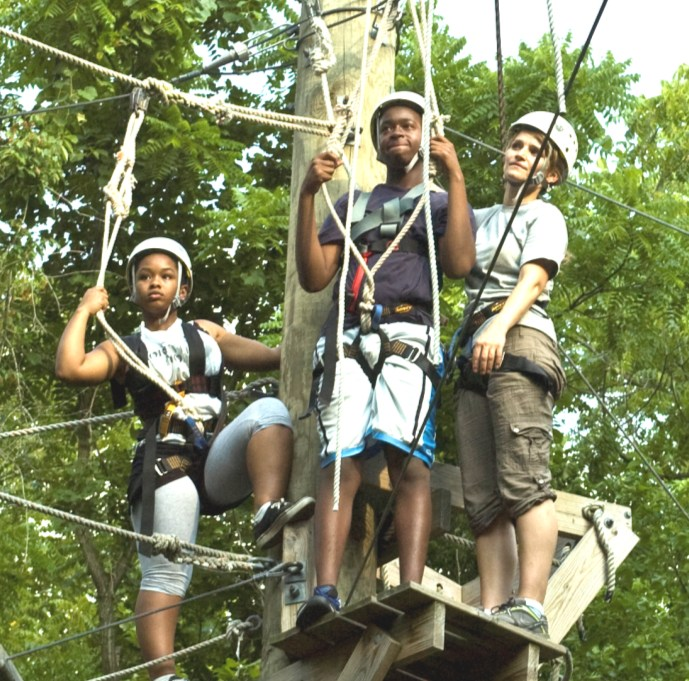 Leadership & Teamwork on the Ropes Course After much hard work in the classroom, we were ready for some physical activity on Monday and Tuesday night.