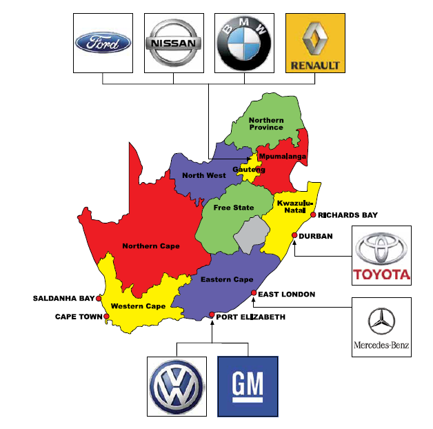 SA Automotive Industry: structure Japanese vehicle manufacturers represented in SA Nissan/Renault and Toyota are both wholly owned subsidiaries.