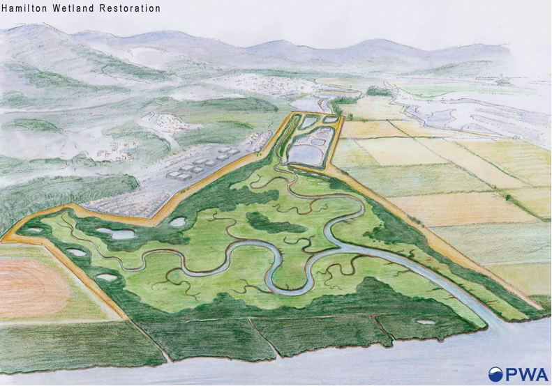 HAMILTON WETLAND RESTORATION RCC PILOT APPROACH continued seasonal wetlands that are resilient to sea-level change for a project that touches three mission areas: navigation, ecosystem restoration,