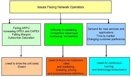 Illustration 5: Issues facing Network operators. Source: Nema Prachi, Visiongain (2006) An argument for managed service is to reduce the number of parties the operator deal with.