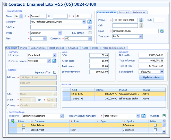 Figure 12: Screenshot of Pivotal CRM Contact Screen Available Through Microsoft Outlook Source: Pivotal CRM D O C U M E N T S Other key client data to add to the record are documents (financial