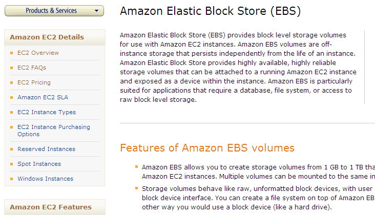 Amazon Elastic Block Store (EBS)