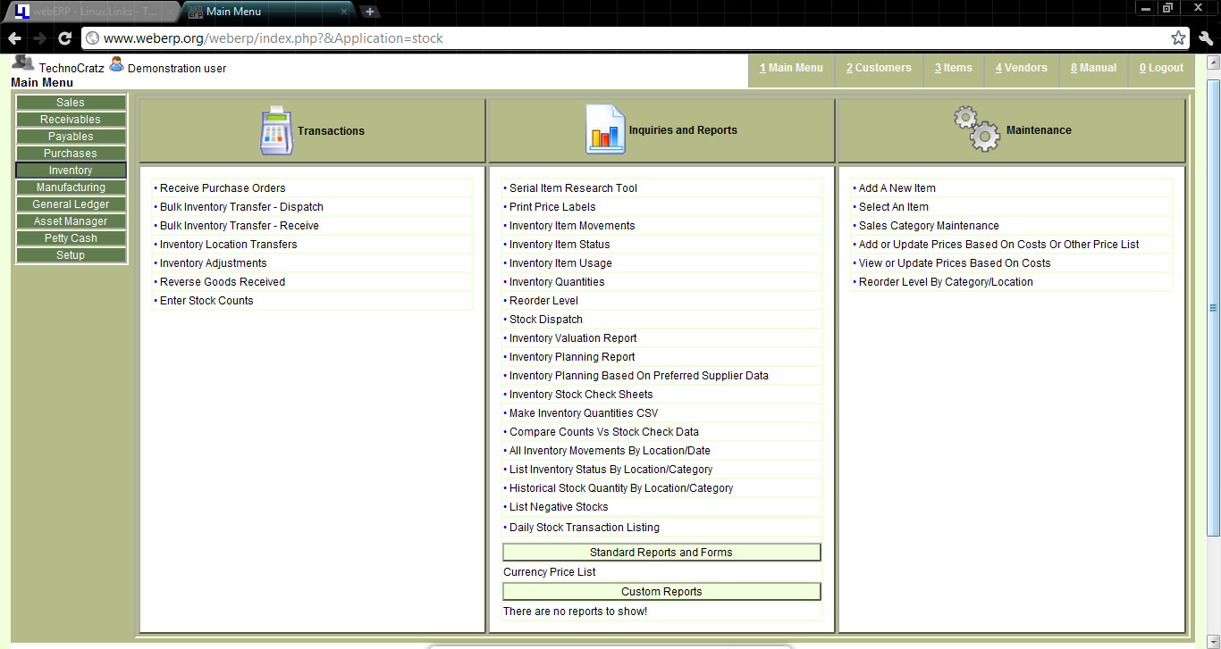 Payables dashboard - It contains vendor related links similar to receivables