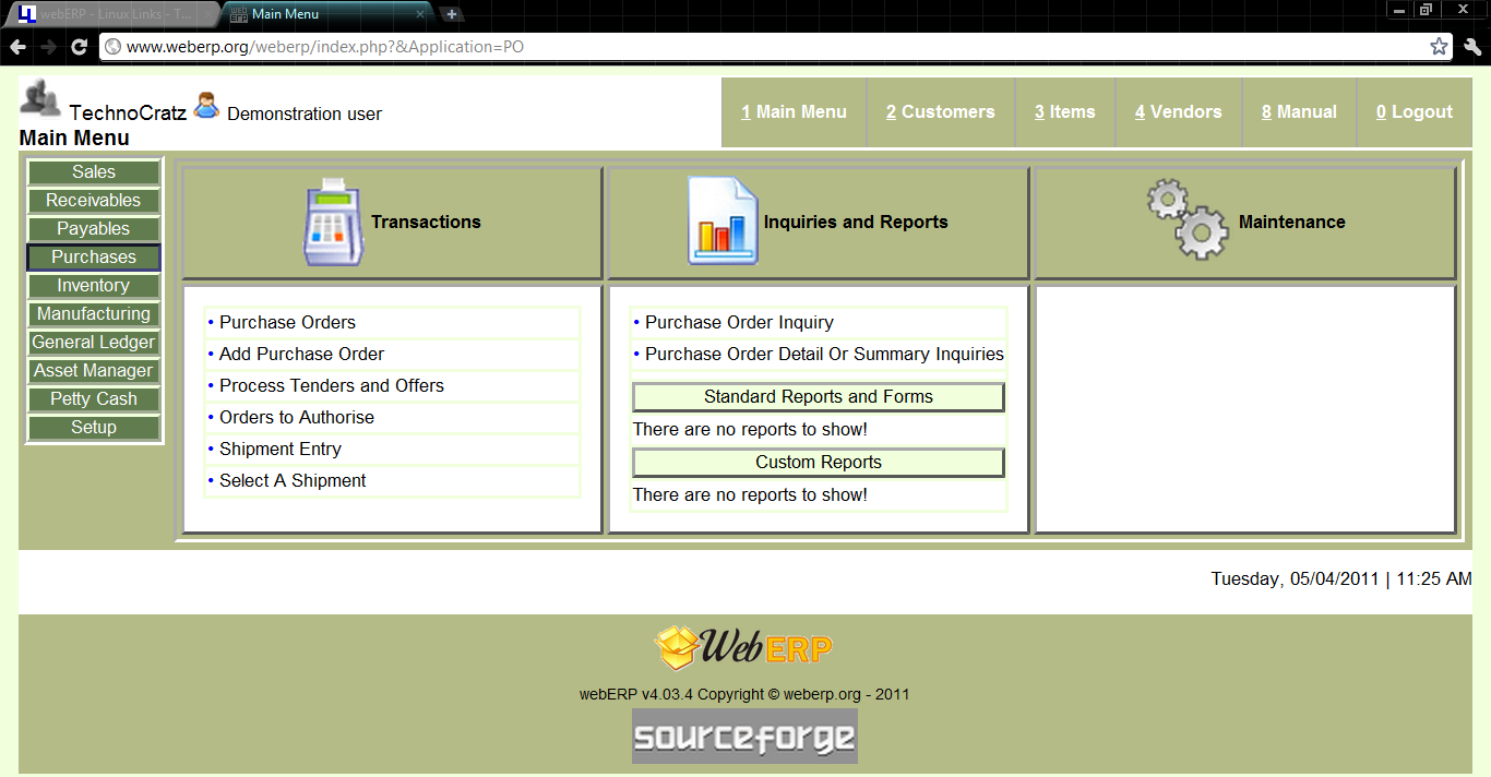 Purchases dashboard - It shows the status of various purchase orders and