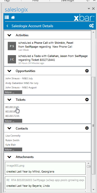 Infor CRM Xbar in Outlook Account details view with sections to drill down into