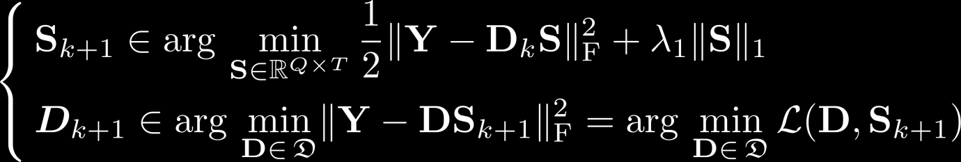 Dictionary learning Solve for dictionary and sparse : (Lasso task; sparse coding) (Constrained LS task) Alternating minimization; both and are convex Special case of block coordinate descent methods