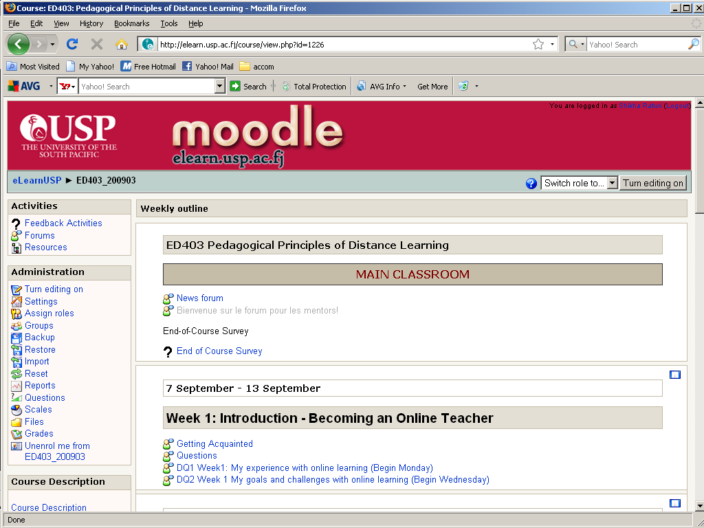 Figure 2: Moodle homepage for EDElearn Semester 1.