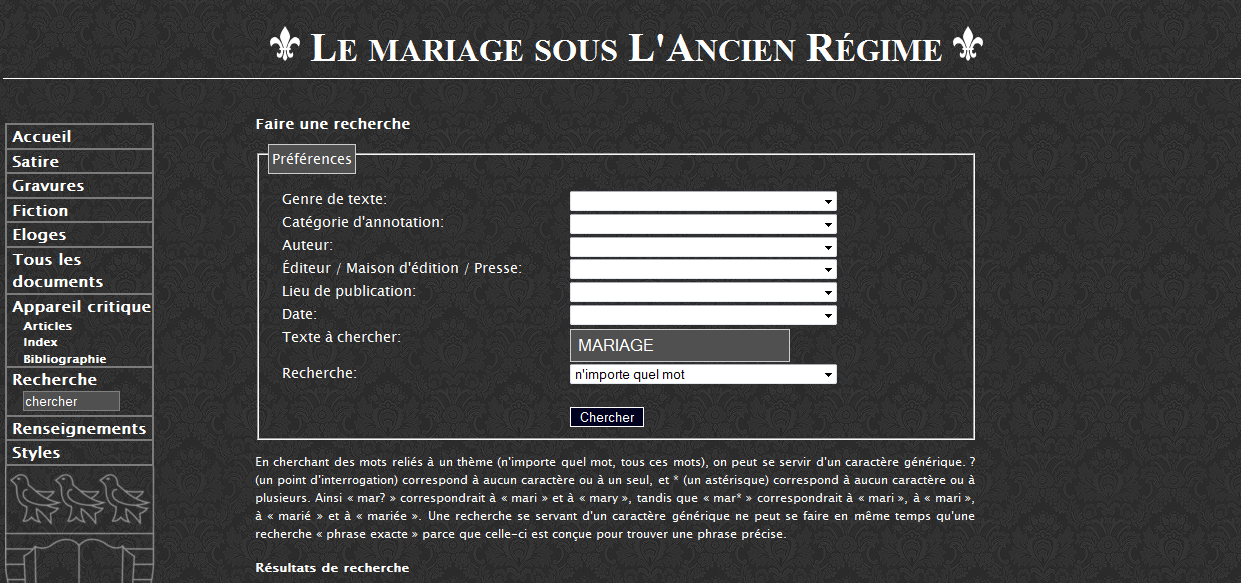 Example of exist-based Project http://mariage.uvic.
