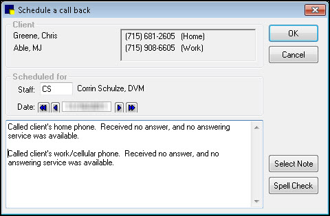 Charge and Procedure Verification Select Update Call Back to open the Patient Reminders window and update an open or pending call back.