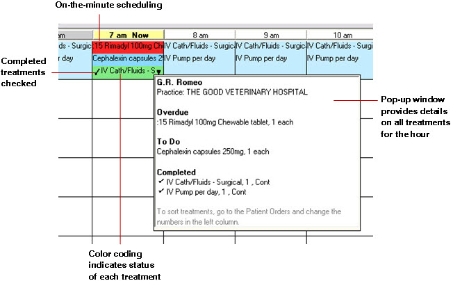 Admit and Patient Orders Detailed Patient Treatment Blocks Patient treatment blocks include detailed information on each treatment scheduled for the time block, as well as a new pop-up window that