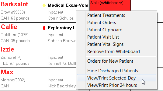 Procedures Refer to the Showing area at the top of the window to view currently selected filters. Click Edit to open the Whiteboard Filter window. Learn the treatment codes and colors.