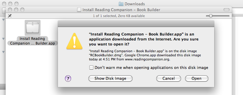 Download for Mac After clicking on the download link, you will be prompted to save the rcbookbuilder.dmg file. By default, it will save in the Downloads folder, but you may change the save location.
