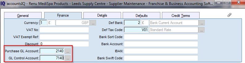 4/11 Log into the Leeds Company and Go To Purchases Supplier Accounts New; Both these accounts must be set to point at the relevant Intercompany Debtors/AR or Creditors/AP Control Accounts that you