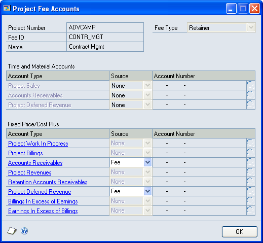 PART 1 POSTING SETUP AND CONTROL 1. Open the Project Fee Accounts window. Cards > Project > Project > Fees button > Fee ID expansion button > Accounts button 2.