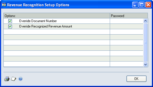 Chapter 3: Revenue recognition setup This part of the documentation includes information for an accounting manager about how to grant users permission to various data entry options for revenue