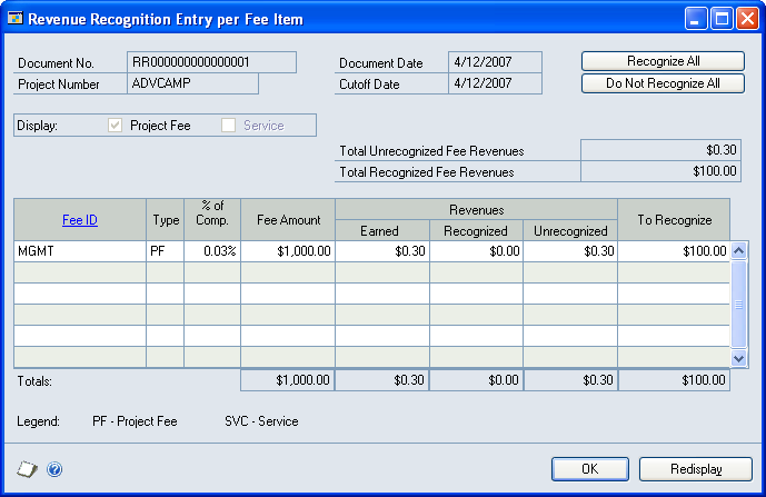 CHAPTER 4 REVENUE RECOGNITION TRANSACTIONS 1. Open the Revenue Recognition Entry per Fee Item window. Transactions > Project > Billing > Revenue Recognition > Fee expansion button 2.