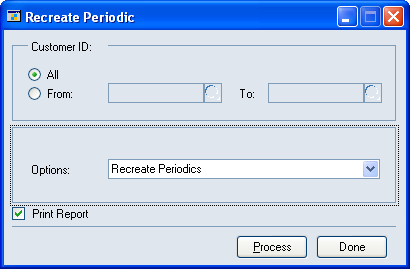 PART 3 REPORTS AND UTILITIES 1. Open the Recreate Periodic window. Microsoft Dynamics GP menu > Tools > Utilities > Project > PA Recreate Periodic 2.