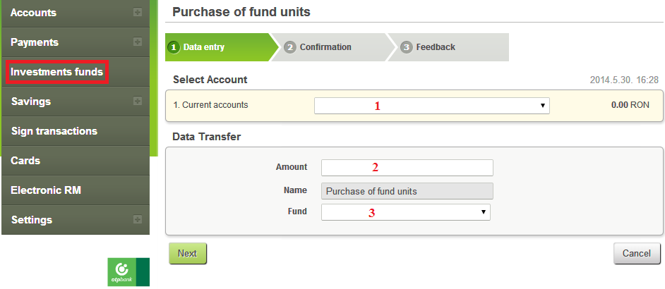 3. From the drop-down list select the fund to which you want to invest.