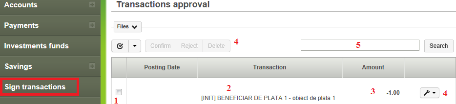 3.6. Sign transactions menu 3.6.1. Approving transactions based on a contract providing differentiated authorizations Click the Sign transactions menu.