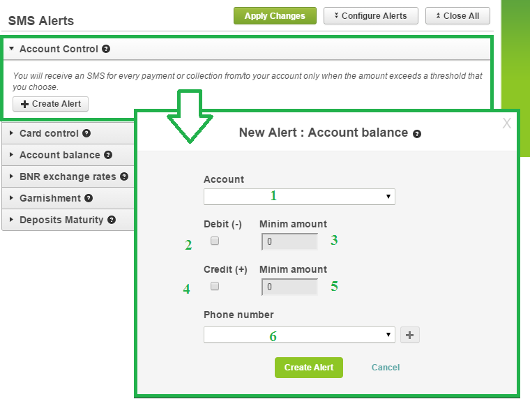 Select the Account Control alert from the SMS Alerts menu and click the + Create Alert button. 1. Choose the account for which you want to receive sms; 2.