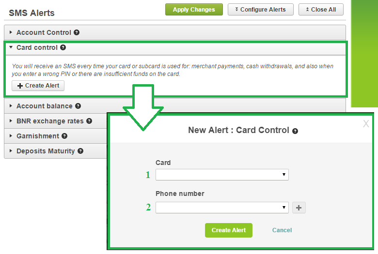 From the drop-down list choose the card for which you want to receive sms. 2.