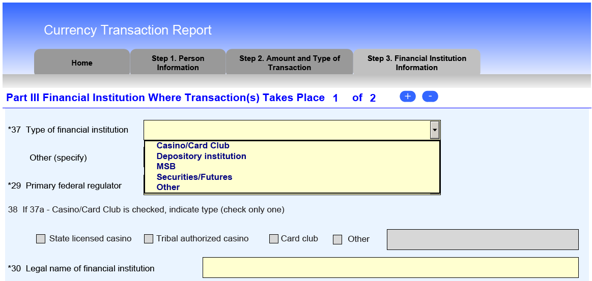Filing Instructions: How to File the FinCEN CTR The new CTR allows